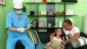 Pleasant innocent cutie is having her first time with a doctor and a dude