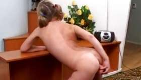Blonde nasty bitch is posing and solo fucking her funny genitals