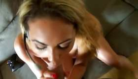 Blonde messy doxy is kneeling and giving a deepthroat a heavy wang