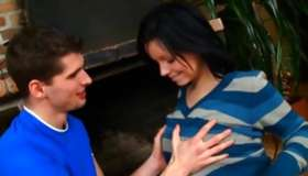 Brown-haired gorgeous strumpet is getting her zeppelins touched by a guy