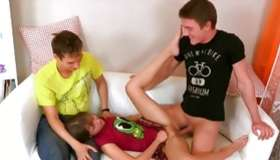 Innocent adolescent miss and her 2 horny mates jamming crude and hard